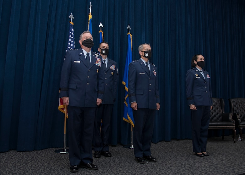 Maj. Gen. John J. DeGoes relinquished command of the 59th Medical Wing to Brig. Gen. Jeannine Ryder during a change of command ceremony at the Inter-American Air Forces Academy auditorium here April 29, 2021.