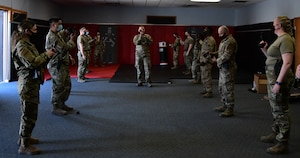 926th Security Forces Squadron practices Taser drills during their Leader Led Training Course, April 10, 2021, at Nellis Air Force Base, Nevada.