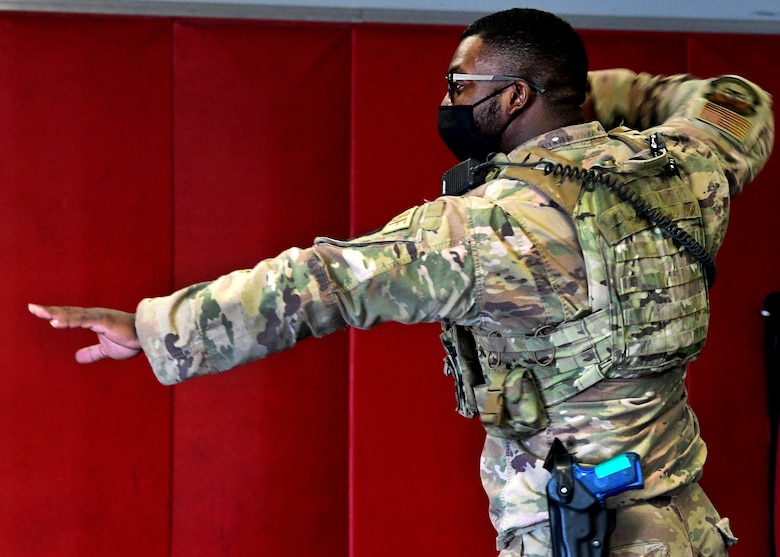 926th Security Forces Squadron practices baton drills during their Leader Led Training Course, April 9, 2021, at Nellis Air Force Base, Nevada.