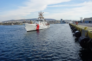 USCGC Robert Goldman (WPC 1142) arrives in Athens, Greece on April 26, 2021.
