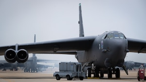 """A B-52H Stratofortress is """"cart started"""" at Barksdale Air Force Base, Louisiana, April 28, 2021."""