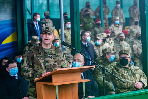 Task Force Raven, 81st Stryker Brigade Combat Team, Washington Army National Guard, assumed command of the Joint Multinational Training Group-Ukraine mission at Collective Training Center – Yavoriv, Ukraine, during a Transfer of Authority ceremony April 16, 2021.