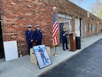 Capt. Eva VanCamp speaks at the Memorial Service with Fireman Apprentice Christopher Garcia-Rivera and Senior Chief Petty Officer Erich White from Station Eaton's Neck, Huntingtion Station, New York, in  April 24, 2021. Photo by Lt. Tony Emanuele.