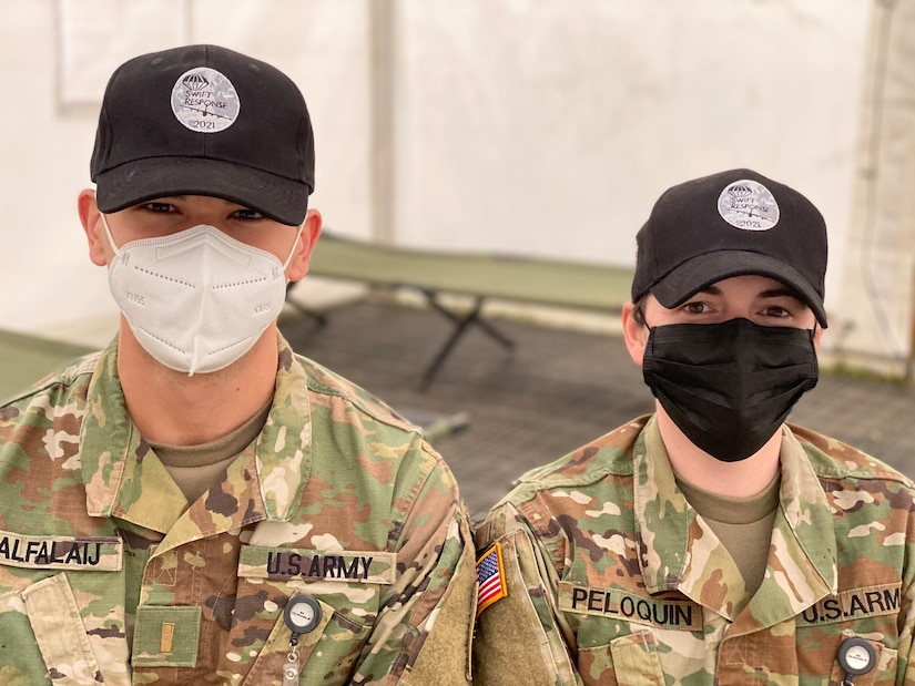 Army 2nd Lt. Ryan Alfalaij is the COVID-19 isolation facility officer in charge at Ämaria Air Base, and Capt. Abigail Peloquin is the base operations support officer in charge at the air base.  If a Soldier participating in DEFENDER-Europe 21 in Estonia starts feeling ill and is exhibiting signs and symptoms of COVID-19 – he or she will meet these two Army officers very quickly.