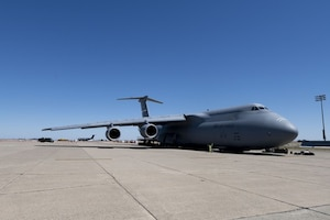 C-5M Super Galaxy aircraft sits on the flight line