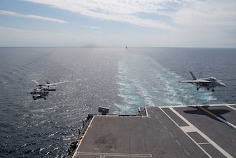 USS Gerald R. Ford (CVN 78) conducts flight operations.