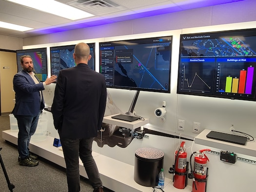 During Tyndall PMO's demonstration, SimpleSense and Novetta personnel demonstrated some of the functions the Installation Resilience Control Center will bring to the installation. (U.S. Air Force photo by Sarah McNair)