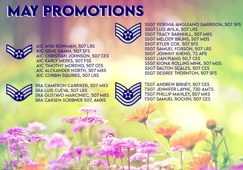 The May enlisted Promotions graphic from the 507th Air Refueling Wing at Tinker Air Force Base, Oklahoma. (U.S. Air Force graphic by Senior Airman Mary Begy)