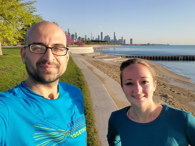 Michael Haefeli, civil engineer in the Geotechnical Engineering & Dam/Levee Safety Section, and Capt. Aurora DeAngelis-Caban, assistant to the Construction Branch chief in the Construction Section, put on their teal shirts and completed a SAAPM Virtual Race that began in Chicago's Chinatown neighborhood, down to Lake Michigan, and then a loop back for a total of 5.8 miles, April 30, 2021.