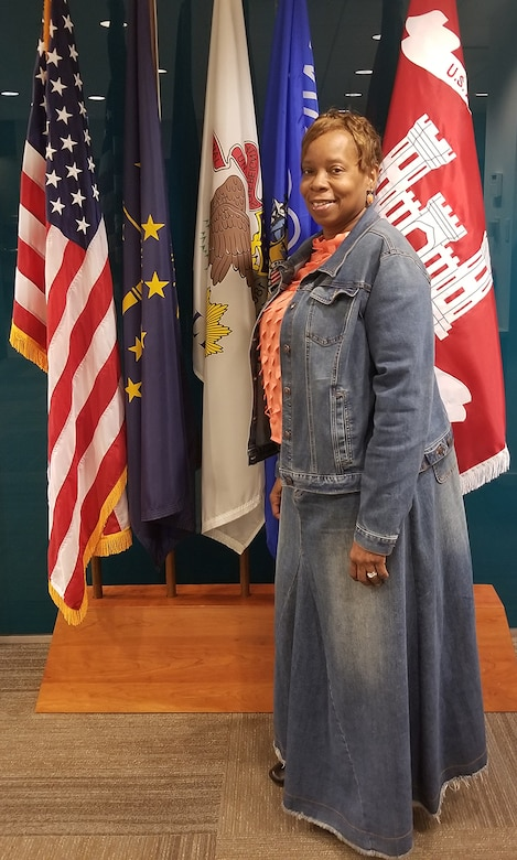 Tonia Carr, administrative support assistant in the Executive Office, participates in Denim Day, April 28, 2021.