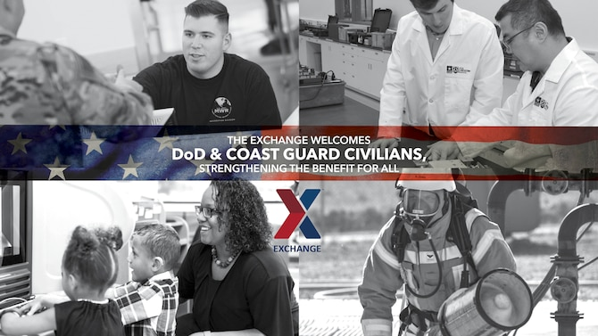 Illustration stating that Department of Defense and Coast Guard Civilians are welcome to shop at the Exchange.