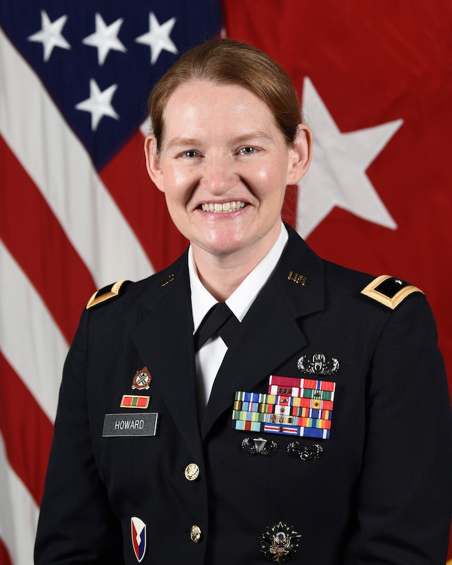 U.S. Army Brigadier General, Stephanie Howard poses for her official portrait in the Army portrait studio at the Pentagon in Arlington, Va., Feb. 05, 2021.