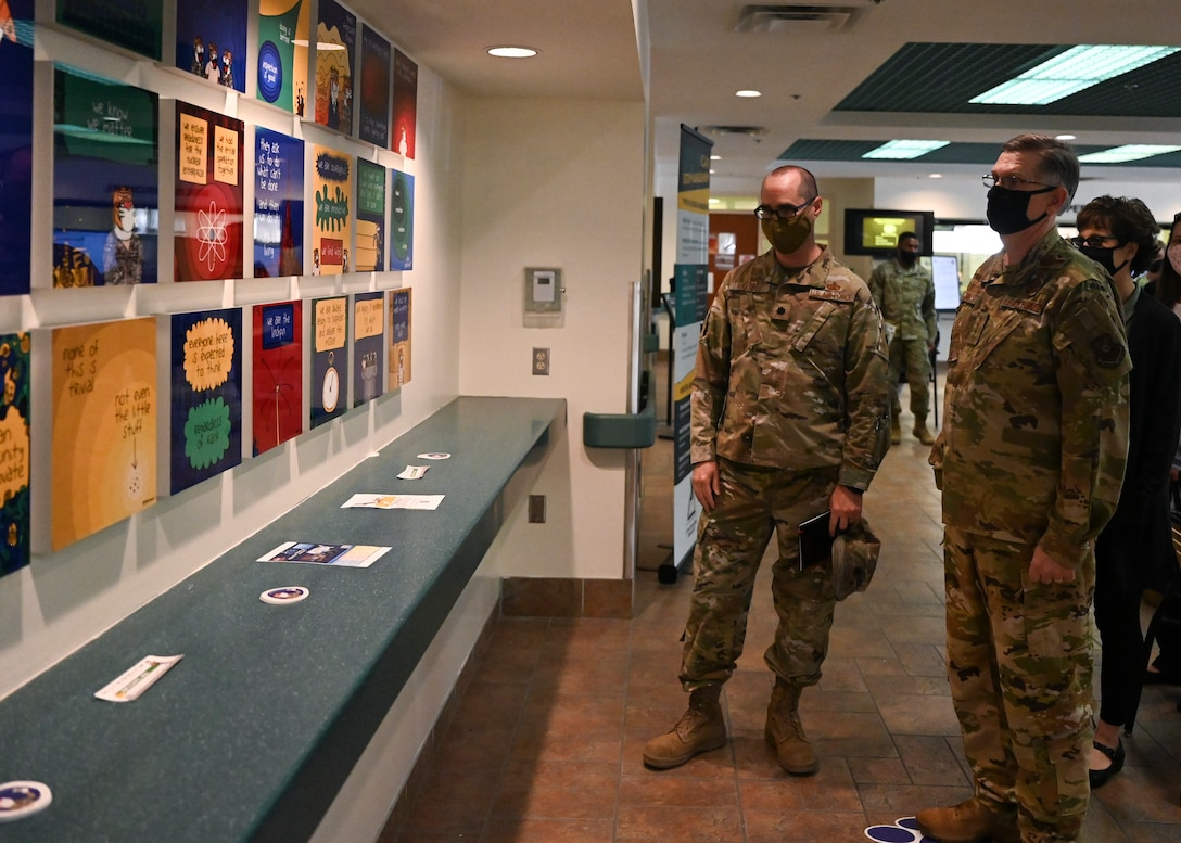 U.S. Air Force Gen. Tim Ray, Air Force Global Strike Command commander, views a Culture Wall.