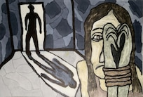 An illustration depicting human trafficking.