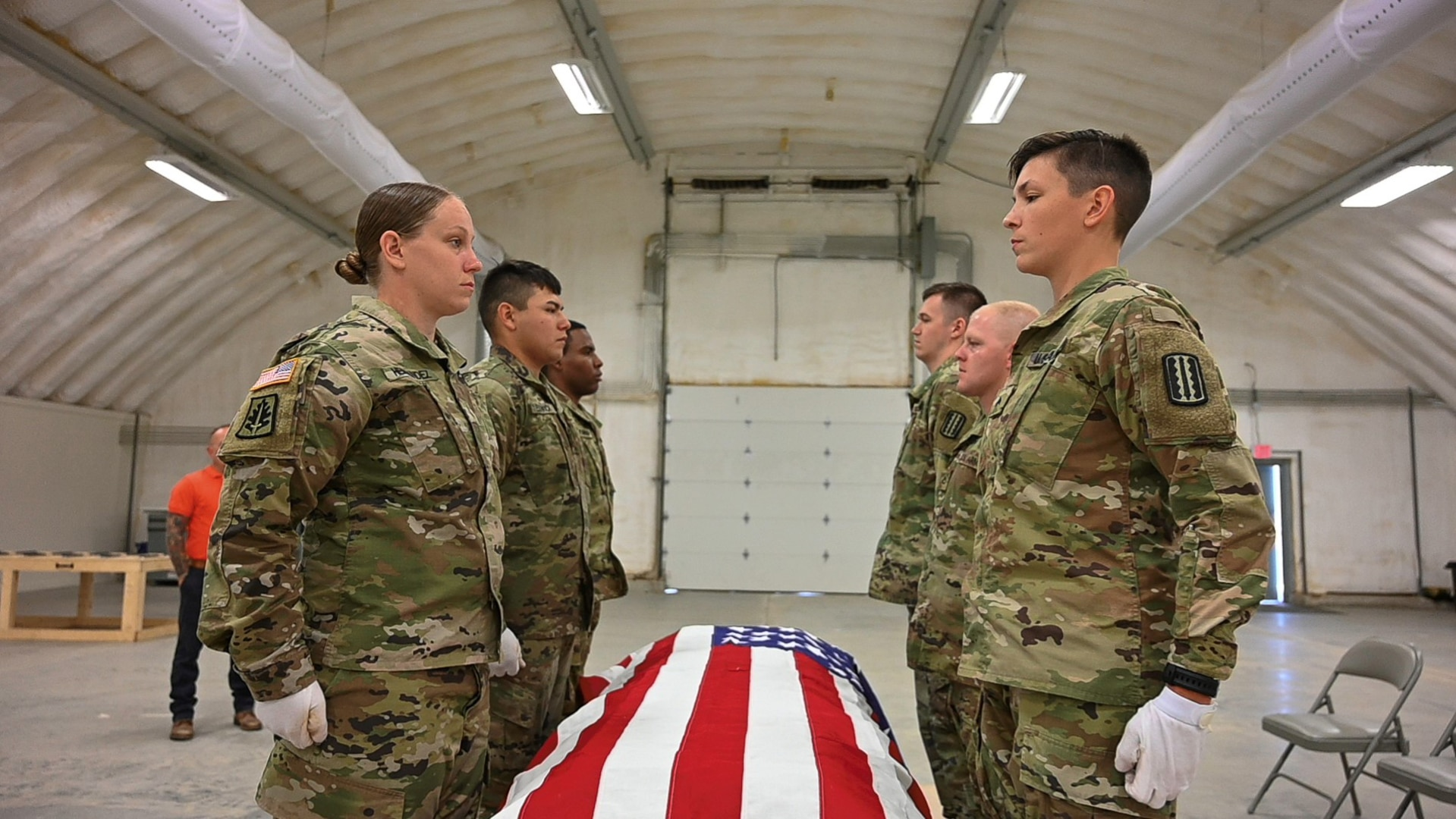 Virginia National Guard Soldiers participate in Level 1 Funeral Honors training June 25, 2021, at the State Military Reservation in Virginia Beach, Va. The course prepares Soldiers to conduct professional military funeral honors in accordance with service tradition.
