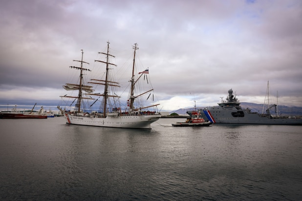 """USCGC Eagle (WIX 327), """"America's Tall Ship,"""" arrives in Reykjavik, Iceland, on June 9, 2021. Eagle is currently conducting summer U.S. Coast Guard Academy cadet training in at-sea leadership and professional development. Their first port call was Portugal in late May. Eagle has served as a classroom at sea to future Coast Guard officers since 1946, offering an at-sea leadership and professional development experience as part of the Coast Guard Academy curriculum."""