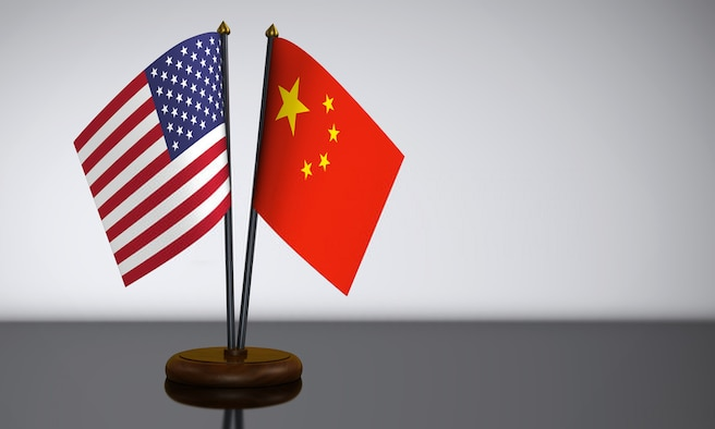 US and China conference flags