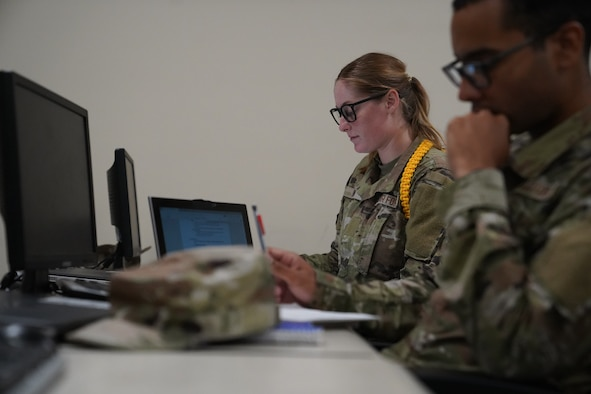 U.S. Air Force Airman Madelyn Brown, 336th Training Squadron cyber transport student, looks at her computer during class inside Thompson Hall at Keesler Air Force Base, Mississippi, July 26, 2021. As a yellow rope, Brown has taken a charge early to become a leader amongst her peers. (U.S. Air Force photo by Senior Airman Spencer Tobler)