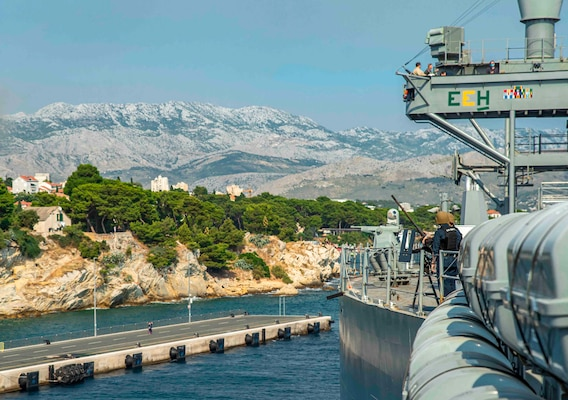 Sailors stand small craft assault team watch aboard the Blue Ridge-class command and control ship USS Mount Whitney (LCC 20) as the ship gets underway from Split, Croatia, August 2, 2021. Mount Whitney is the U.S. Sixth Fleet flagship, homeported in Gaeta, and operates with a combined crew of U.S. Sailors and Military Sealift Command civil service mariners.