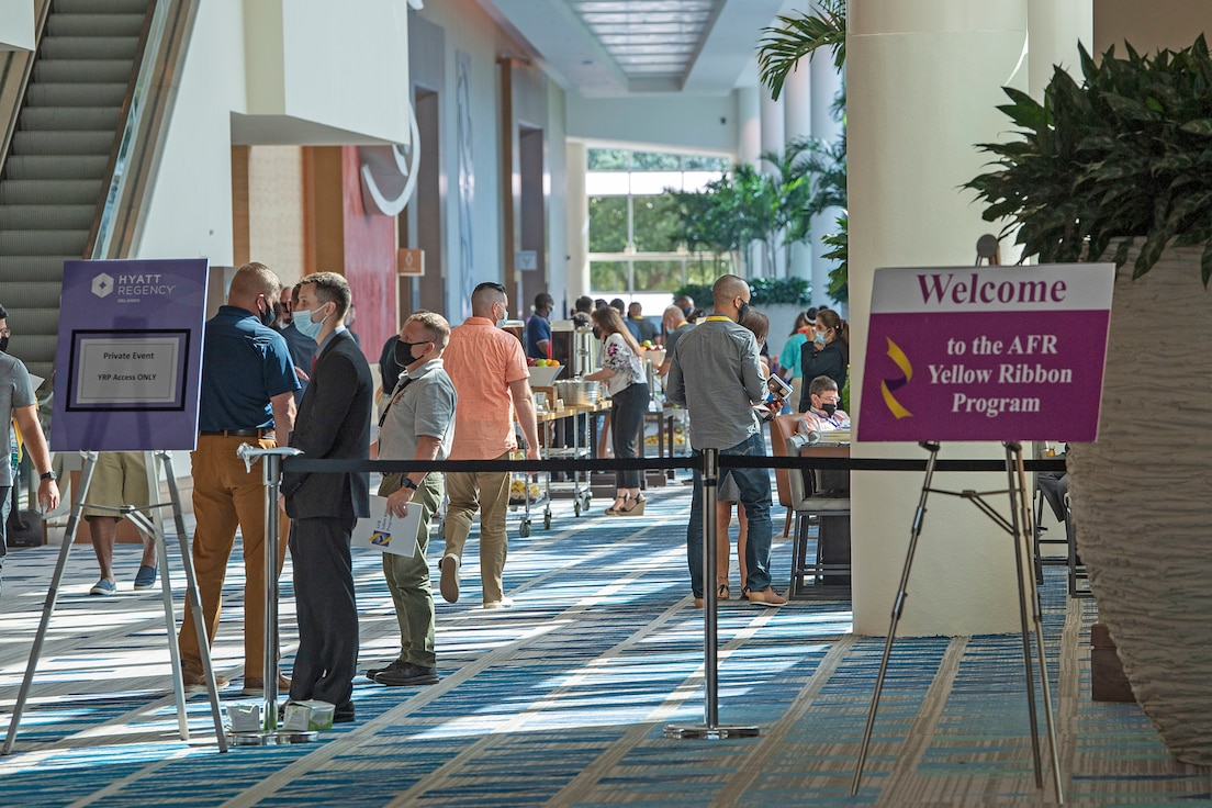 The Yellow Ribbon Program hosted an event in Orlando, Florida, July 23-24, 2021. More than 350 Reserve Citizen Airmen and their loved ones gather in the program's first large-scale, in-person event in more than 14 months. (U.S. Air Force photo by Staff Sgt. Mary McKnight)