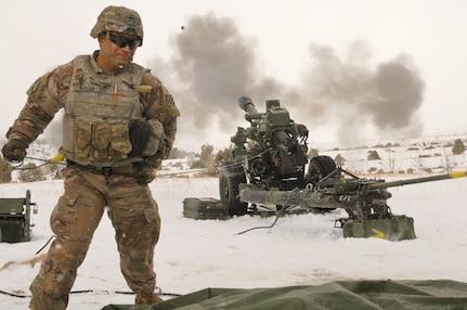 3rd Battalion, 640th Regiment, RTI, conducts live fire artillery training at Camp Williams, Utah, Feb. 16, 2021