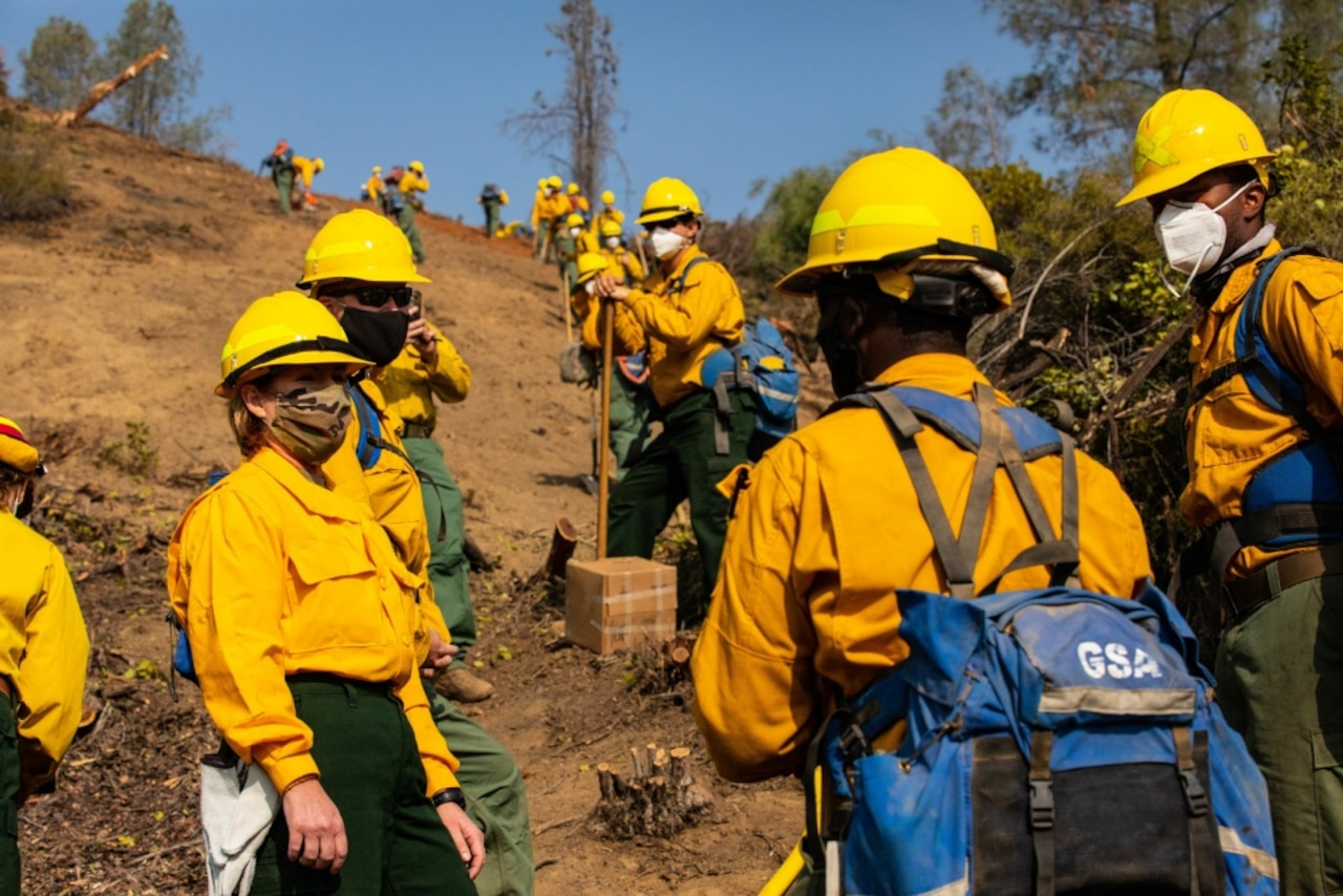 Dozens of people wearing hardhats stand on a hillside that has been cleared of brush and trees.