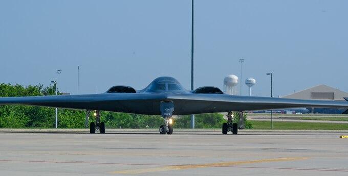 B-2 taxiing on ramp