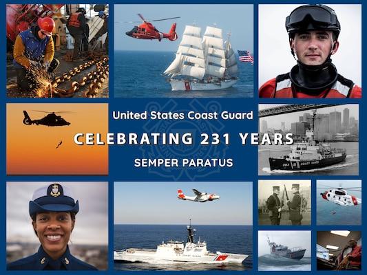 Graphic celebrating 231 years of the U.S. Coast Guard.