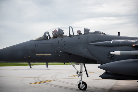 U.S. Air Force aircrew from the 366th Fighter Wing depart to complete an Integrated Combat Turn on Andersen Air Force Base, Guam, July 24, 2021.U.S. Performing ICTs decreases the aircrews' time on the ground and increases the Air Force's ability to meet new challenges in dynamic environments. (U.S. Air Force photo by Airman 1st Class Andrea Rozoto)