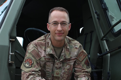 Master Sgt. Shale Norwitz, 688th Cyberspace Wing, poses for a photo at Robins Air Force Base, Ga., Aug. 2, 2021. Norwitz struggles with Autism Spectrum Disorder and uses his experience to advocate for others who may face neurodiversity challenges in the workplace.