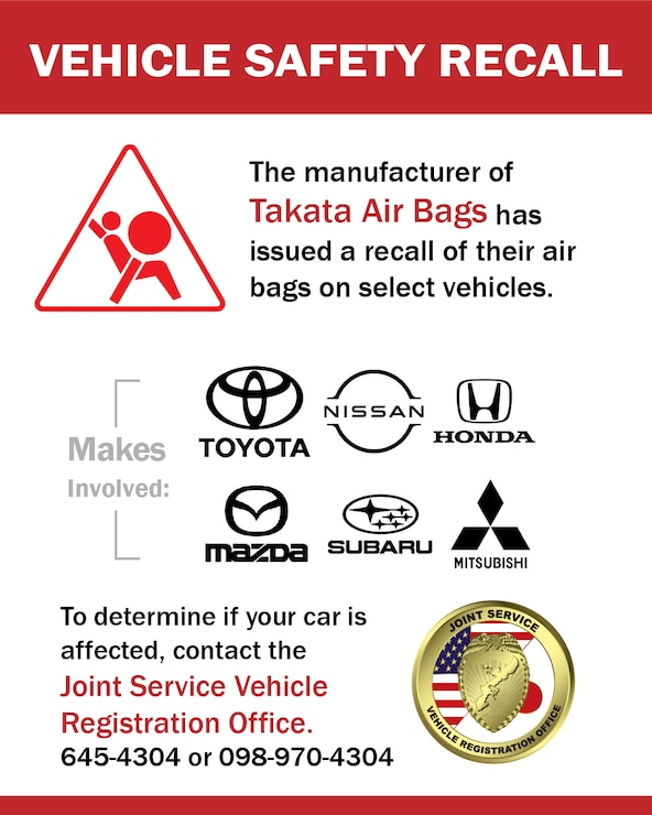 Takata airbag recall is currently in effect for select vehicles. Applicable to all SOFA members. Deadline is Sept. 30, 2021.