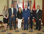 Left to right, Jordan Hale, deputy chief of staff, Office of Texas Gov. Greg Abbott; Barakat Elleithy, minister plenipotentiary, Embassy of the Arab Republic of Egypt; Livia Link-Raviv, consul general of Israel; Rep. Michael McCaul; Maj. Gen. Tracy R. Norris, Texas adjutant general; and Jose A  Esparza, the Texas deputy secretary of state, at a ceremony in Austin, Texas, Aug. 3, 2021, commemorating the 40-year anniversary of the Multinational Force Observers (MFO). After the signing of the Egypt-Israeli Peace Agreement, the MFO was created to supervise the implementation of the security provisions of the treaty and prevent any violation of its terms.