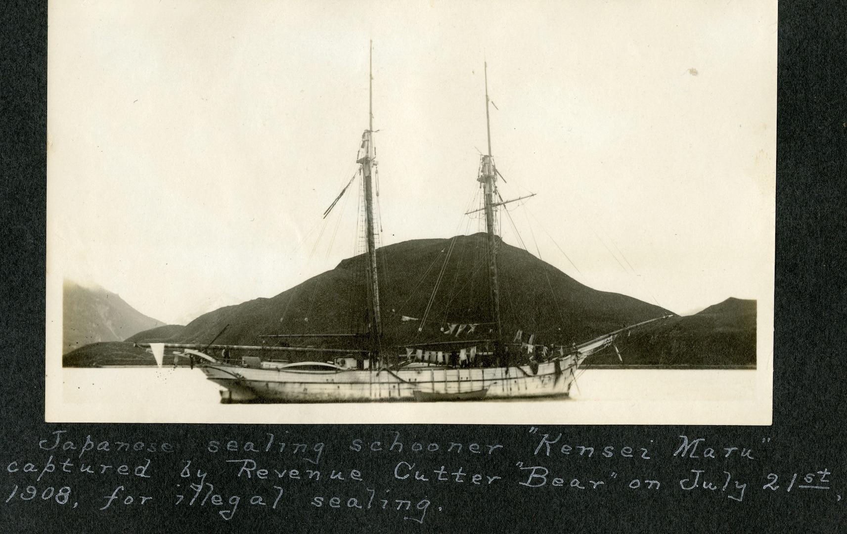 "Japanese sealing schooner ""Kensei Maru"" captured by Revenue Cutter ""Bear"" on July 21st, 1908, for illegal sealing."
