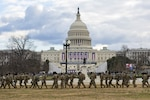 National Guard Soldiers provide security outside the U.S. Capitol during the 59th Presidential Inauguration Jan. 20, 2021, as part of the National Guard's Capitol Response security mission.