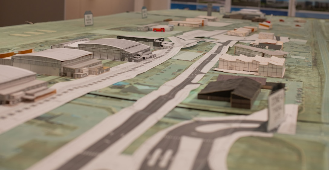 a 3D model of a flight line sits on a table
