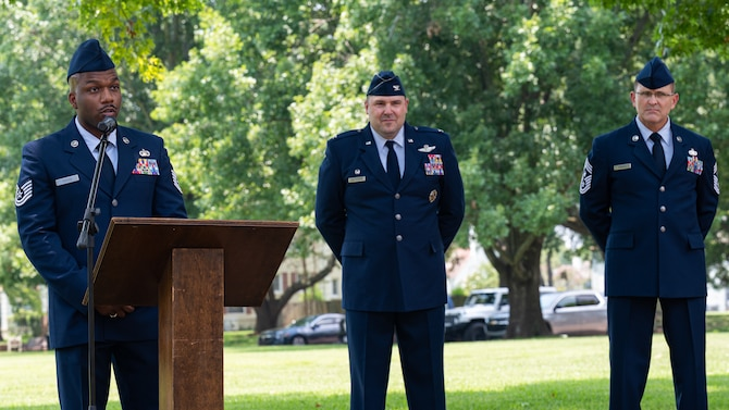 Tech. Sgt. Lavandant Foster, 2nd Operations Support Squadron intel training wing flight chief, makes remarks during the Purser Park Monument unveiling ceremony at Barksdale Air Force Base, Louisiana, July 30, 2021. Lt. Brittain Purser was a pilot who passed away during a take-off collision at Barksdale and the monument honors his bravery and dedication to the Air Force mission. (U.S. Air Force photo by Airman 1st Class Jonathan E. Ramos)