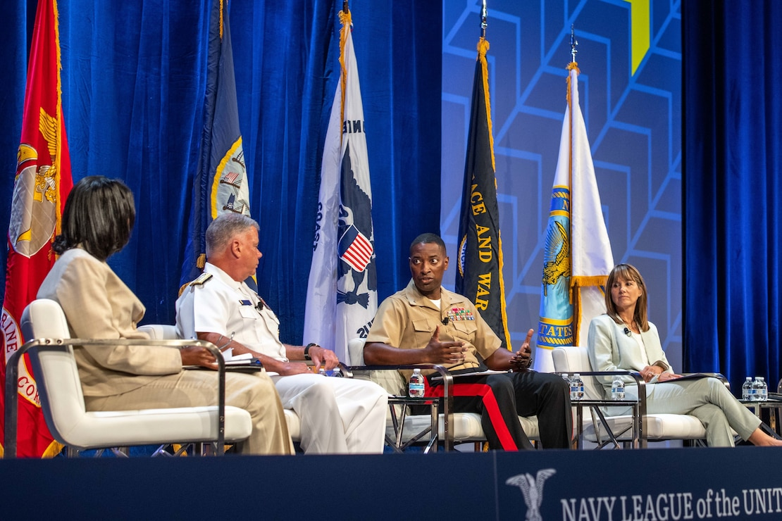 """U.S. Marine Corps Brig. Gen. A. T. Williamson, director, Manpower Plans and Policy Division, answers a question during the """"Inclusion and Diversity as a Force Multiplier"""" panel at the Sea-Air-Space 2021 exposition."""