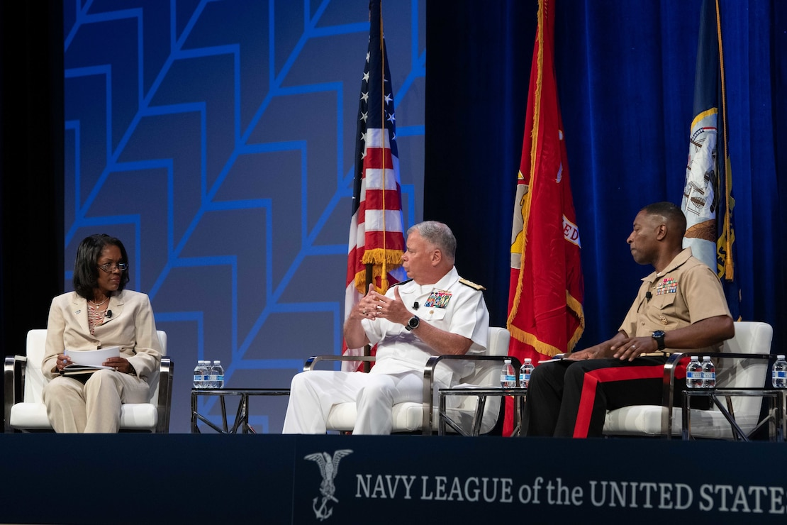 """Chief of Naval Personnel Vice Adm. John Nowell Jr., answers a question during the """"Inclusion and Diversity as a Force Multiplier"""" panel at the Sea-Air-Space 2021 exposition."""