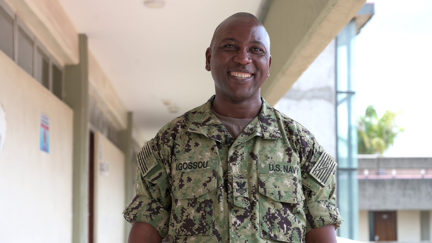 (Aug. 2, 2021) Hospital Corpsman 1st Class Marcelin Aggossou poses for a portrait during exercise Cutlass Express 2021 in East Africa, Aug. 2, 2021. Cutlass Express is designed to improve regional cooperation, maritime domain awareness and information sharing practices to increase capabilities between the U.S., East African and Western Indian Ocean nations to counter illicit maritime activity.