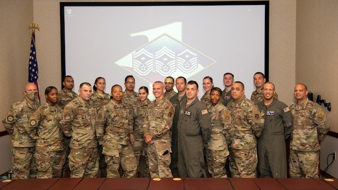 Senior noncommissioned officers from the 514th Air Mobility Wing, Joint Base McGuire-Dix-Lakehurst, N.J., pose for a photo at the 514th AMW First Sergeant Symposium, July 18, 2021. The goal of the symposium was to groom senior NCOs as potential future first sergeants.