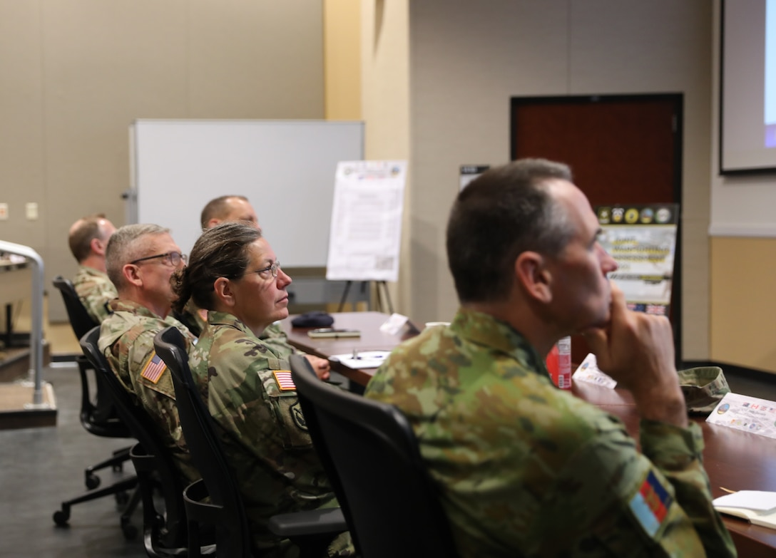 Lt. Gen. Jody J. Daniels, chief of Army Reserve and commanding general, U.S. Army Reserve Command, participates in the Joint Warfighting Assessment 2021 distinguished visitor day initial briefing at Fort Carson, Colo., June 25, 2021. U.S. Army Civil Affairs and Psychological Operations Command (Airborne) Civil Affairs, Psychological Operations, and Information Operations Soldiers took part in JWA 2021 with participants from different Army units and multinational partners such as U.K., Australian and Canadian armed forces, working to improve interoperability between U.S. joint forces and our allies. JWA exercises help the Army evaluate emerging concepts, integrate new technologies, and promote interoperability between the Army, other services, and our multinational partners. Joint and multinational partners are key to the success of Multi-Domain Operations.