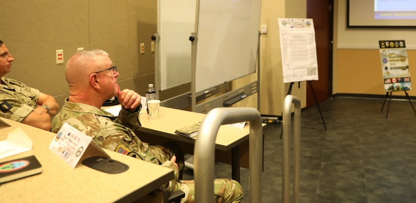 U.S. Army Reserve Brig. Gen. Jeffrey C. Coggin, commanding general of the U.S. Army Civil Affairs and Psychological Operations Command (Airborne), participates in the Joint Warfighting Assessment 2021 distinguished visitor day initial briefing at Fort Carson, Colo., June 25, 2021. USACAPOC(A) Civil Affairs, Psychological Operations, and Information Operations Soldiers took part in JWA 2021 with participants from different Army units and multinational partners such as U.K., Australian and Canadian armed forces, working to improve interoperability between U.S. joint forces and our allies. JWA exercises help the Army evaluate emerging concepts, integrate new technologies, and promote interoperability between the Army, other services, and our multinational partners. Joint and multinational partners are key to the success of Multi-Domain Operations.