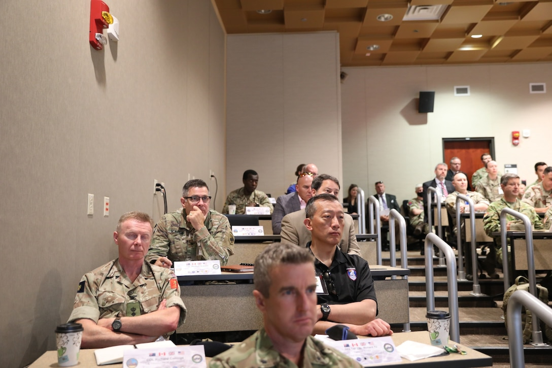U.S. Army Reserve Col. Straus M. Scantlin (upper left), director of the Strategic Initiatives Group (SIG) for the U.S. Army Civil Affairs and Psychological Operations Command (Airborne), takes part in the Joint Warfighting Assessment 2021 distinguished visitor day initial briefing by Col. Tobin Magsig, commander of the Joint Modernization Command, at Fort Carson, Colo., June 25, 2021. USACAPOC(A) Civil Affairs, Psychological Operations and Information Operations Soldiers took part in JWA 2021 with participants from different Army units and multinational partners such as U.K., Australian and Canadian armed forces, working to improve interoperability between U.S. joint forces and our allies. JWA exercises help the Army evaluate emerging concepts, integrate new technologies, and promote interoperability between the Army, other services, and our multinational partners. Joint and multinational partners are key to the success of Multi-Domain Operations.