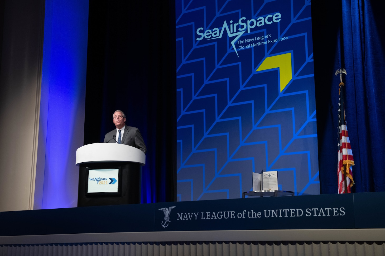 The Honorable Thomas Harker, Secretary of the Navy (acting) speaks at the Sea-Air-Space Exposition.