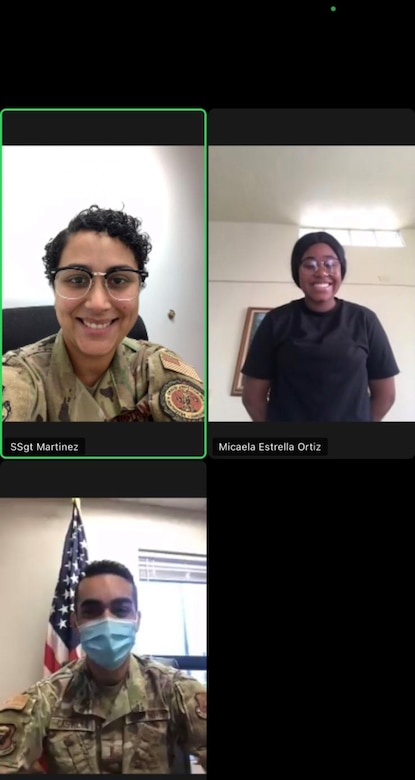 Then-2nd Lt. Nephtali Castillo, 509th Operational Medical Readiness Squadron Bioenvironmental Engineering flight commander, lower left window, gives a virtual oath of enlistment to an Air National Guard enlistee on Puerto Rico via a web chat portal. Castillo spearheaded the implementation of a virtual oath of enlistment process for Air National Guard recruits on Puerto Rico. (Courtesy photo by 1st Lt. Nephtali Castillo)