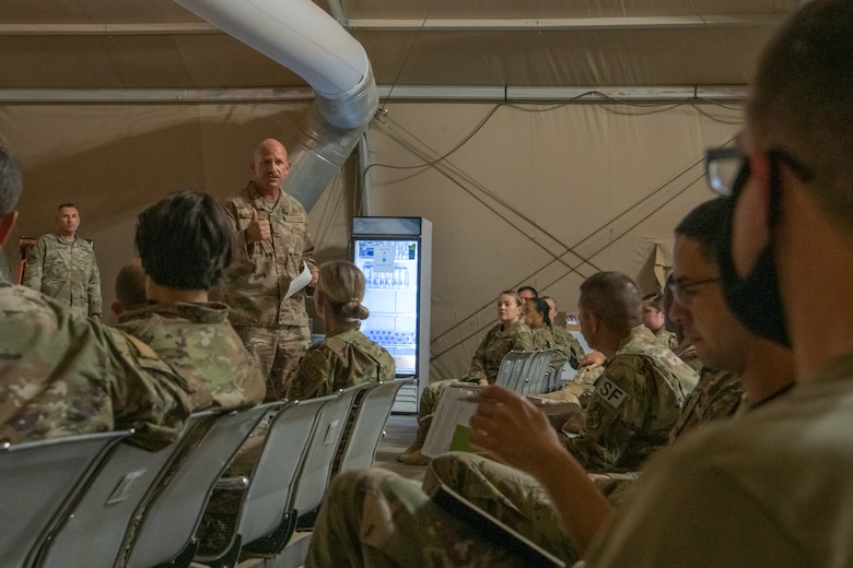 U.S. Air Force Col. Kevin Davidson, 378th Air Expeditionary Wing vice commander, welcomes new personnel to Prince Sultan Air Base, Kingdom of Saudi Arabia, during a Right Start briefing in the U.S. Passenger Terminal, July 12, 2021.