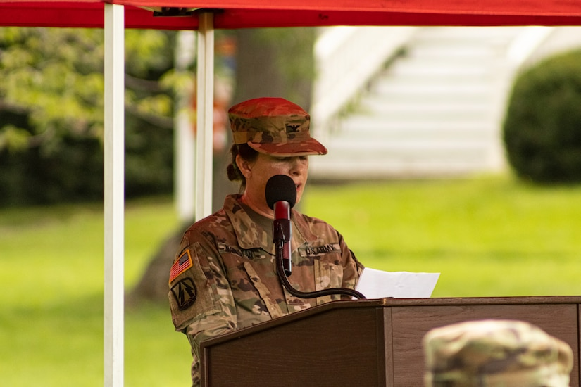 U.S. Army Reserve Col. Marlene K. Markotan, outgoing commander for 151 Theater Information Operations Group (TIOG), gives her final remarks to family, friends, Soldiers and guests attending the 151 TIOG change of command at historic Fort Totten, New York, 18 July 2021 (U.S. Army Reserve photo by Spc. Sean P. O'Hara, 151 Theater Information Operations Group).