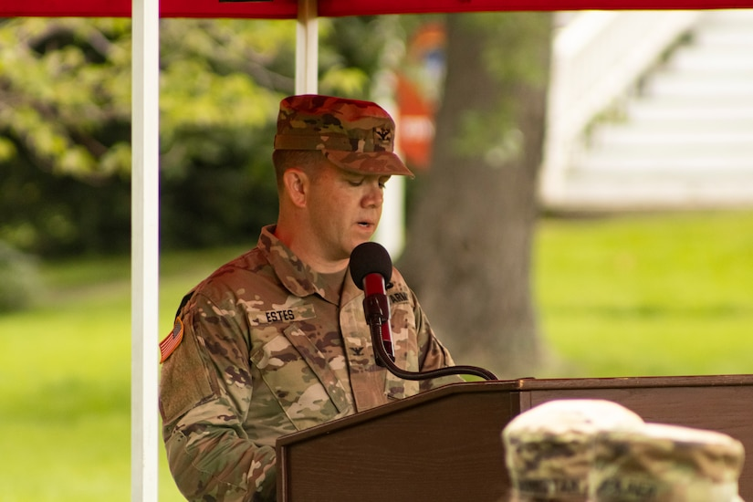 U.S. Army Reserve Col. Franklin J. Estes, incoming commander for 151 Theater Information Operations Group (TIOG), gives his initial remarks to family, friends, Soldiers and guests attending the 151 TIOG change of command at historic Fort Totten, New York, 18 July 2021 (U.S. Army Reserve photo by Spc. Sean P. O'Hara, 151 Theater Information Operations Group).
