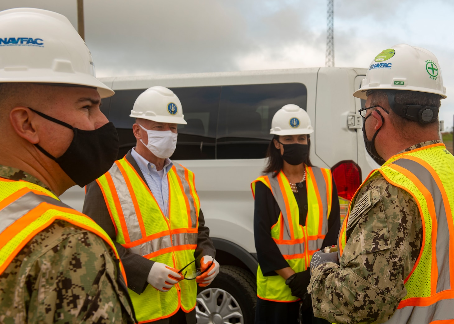 James Balocki, (center left) Acting Principal Deputy Assistant Secretary of the Navy for Energy, Installations & Environment , and Deborah Loomis, (center right) Senior Advisor to the Secretary of the Navy for Climate Change, are given a safety brief from Capt. Miguel Dieguez, (left) public works officer of Naval Submarine Base Kings Bay.