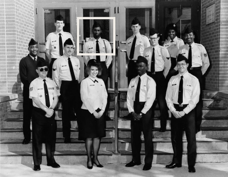 Then-Airman Kendall Briscoe stands alongside financial management apprentice course classmates at Sheppard Air Force Base, Texas. Briscoe, who spent 32 years in the Air Force, retired as a chief master sergeant with 14 duty assignments under his belt between 1989 and 2021. (Courtesy photo)